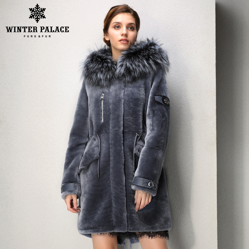 Designer paragraph fashion autumn  long mouton fur coat  casual clothing fur coats women Fox fur hat fur coats WINTER PALACE