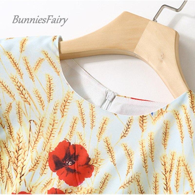 Trimestre Robe 2018 Designer Longue Imprimé Printemps Rétro Bunniesfairy Trois 01 Floral Piste Maxi Vintage Section Robes Manches dYqTPw4w