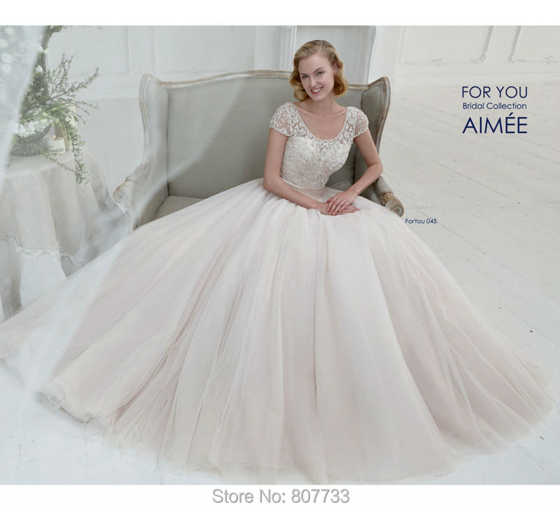 W240 Fantastic lace beaded top puffy tulle bridal dress short sleeve ...