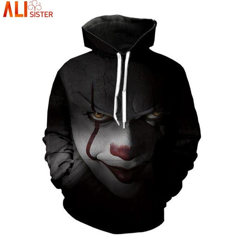 Alisister Horrorfilm Clown Hoodie 3d Schädel Sweatshirt EUR Plus Größe COSPLAY Sportbekleidung Trainingsanzug Männer Frauen Unisex Pullover