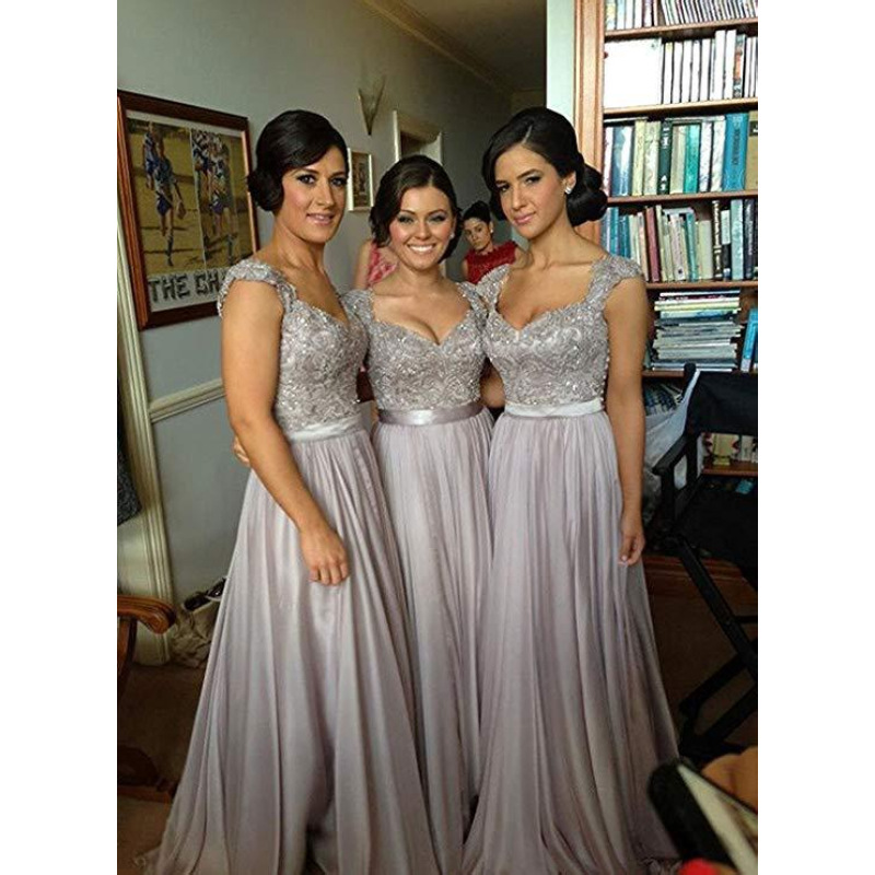 Long Bridesmaid Dresses Cheap Hot Wedding Party Guest Formal Dress Cap Sleeves Purple Burgundy Lavender Coral Brides Maid Dress