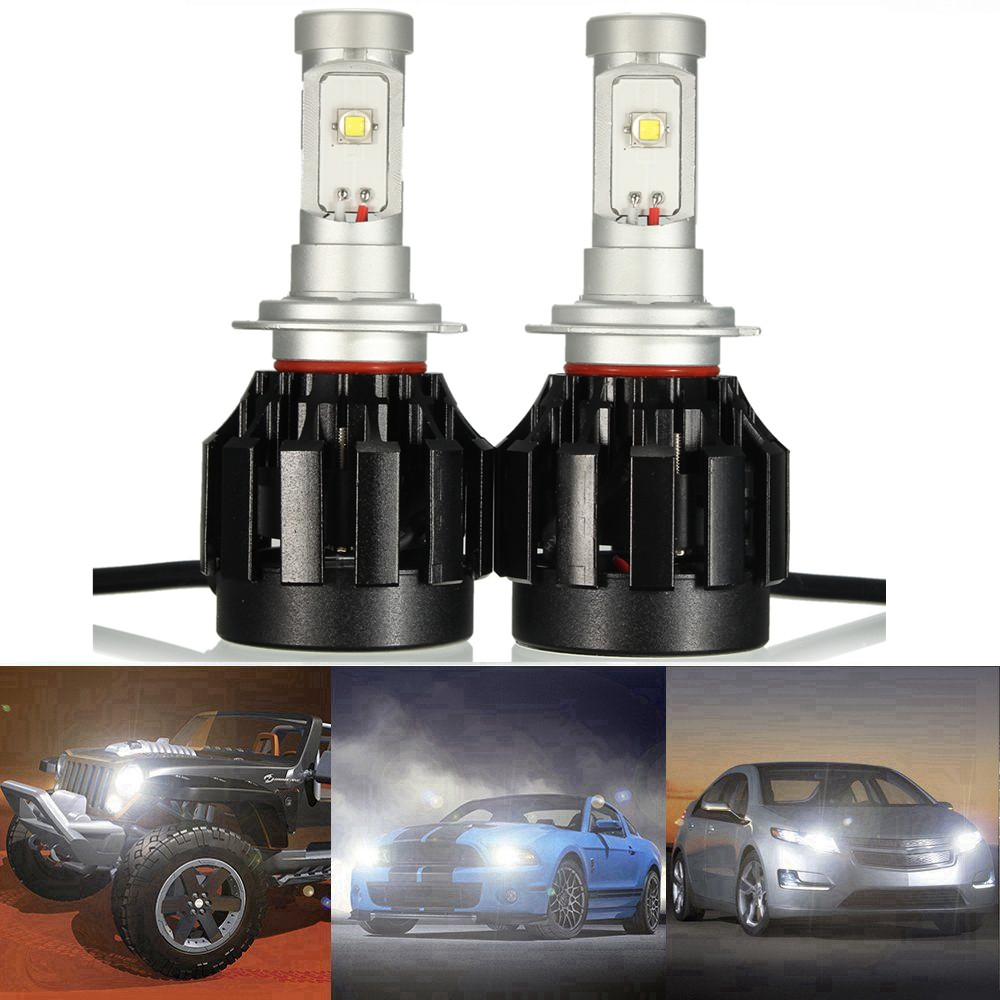 ФОТО 2Pcs H7 COB LED Headlight 60W 2500LM Car LED Headlights Bulb Head Lamp Fog Light Pure White 6500K Hi/Lo Beam Led Headlamp