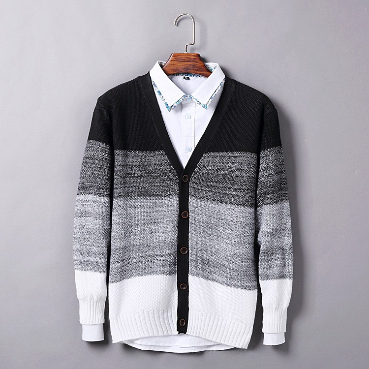 High Quality Mens Sweater New 2015 Autumn Winter Patchwork Cashmere Wool Cardigan Men Sweater Brand Casual V-Neck Mens Clothing (3)