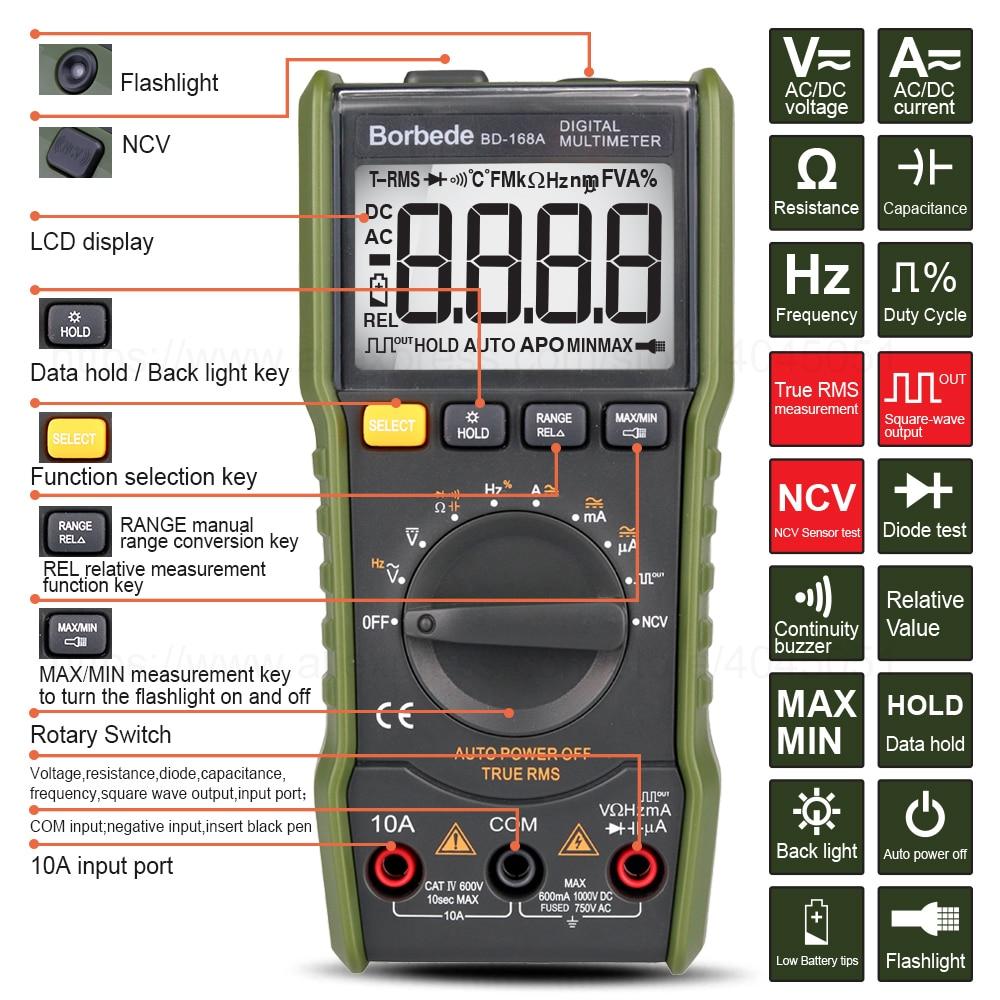 Borbede 168A  Digital Multimeter 6000 Count DC AC Capacitance Resistance Square