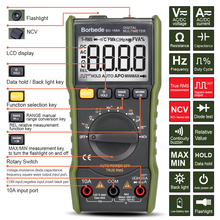 Borbede 168A Digital Multimeter 6000 Count DC AC Voltage Current Capacitance Resistance Square-wave Output True RMS Mini Tester автокресло capella 9 36 кг isofix sps grey светло серый