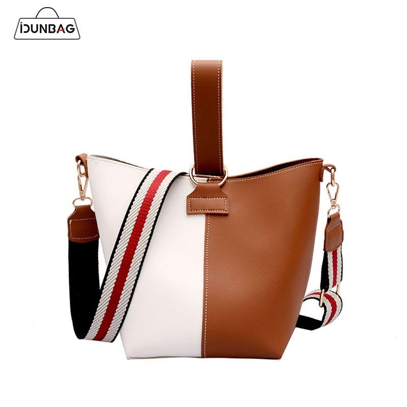 IDUNBAG 2Pcs/Set Bucket Women Bag Panelled Pu Leather Ladies Handbags Wide Strap Messenger Shoulder Bags For Women Clutch Bolsa