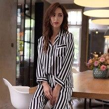 Alta qualidade real seda pajama100 % de seda sleepwear feminino manga longa calças de pijama conjuntos de duas peças listrado impresso nightwear t8131