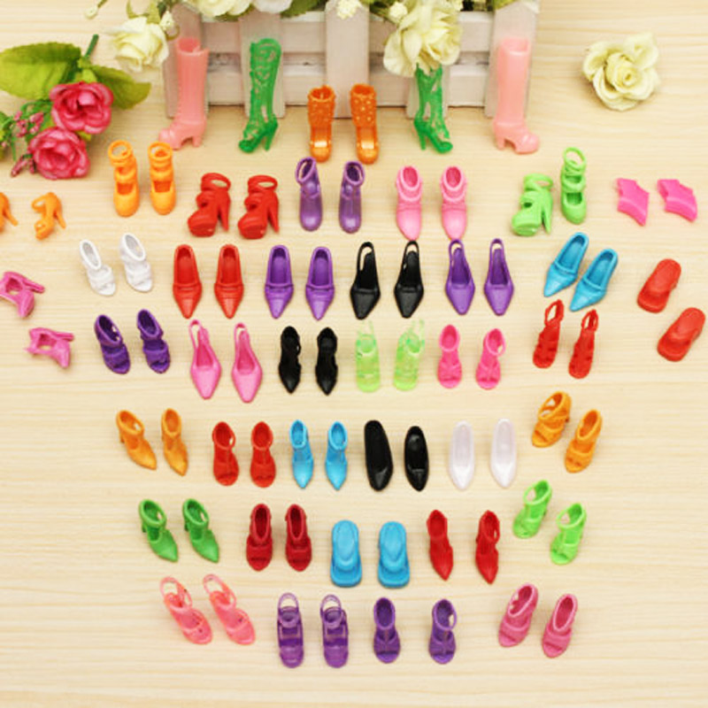 40 Pairs/Set Trendy Mix Assorted Doll Shoes Multiple Styles High Heels Sandals For Barbie Dolls Accessories 500pairs lot wholesale high quality high heel shoes for 30cm dolls mixed styles sandals slippers 10pairs pack doll shoes pack