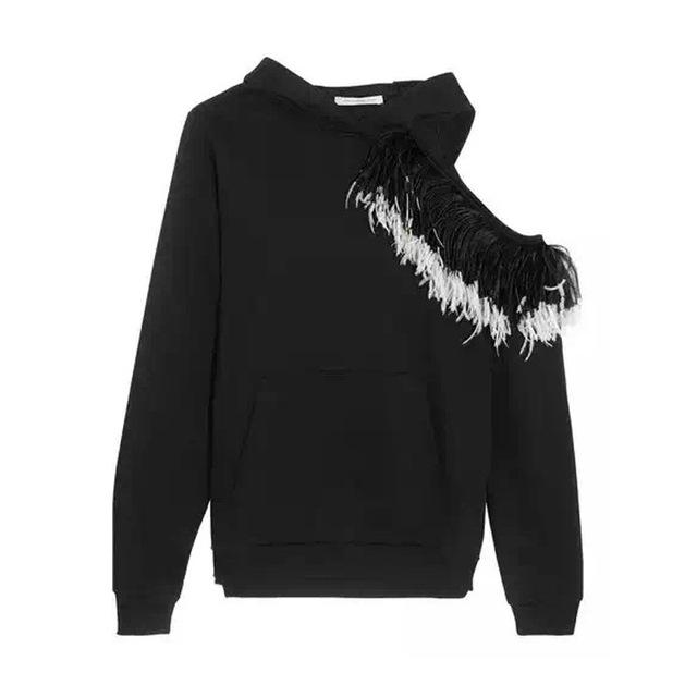 [Twotwinstyle] 2017 outono real pena irregular fora do ombro camisola hoodies mulheres com chapéu preto novo clothing
