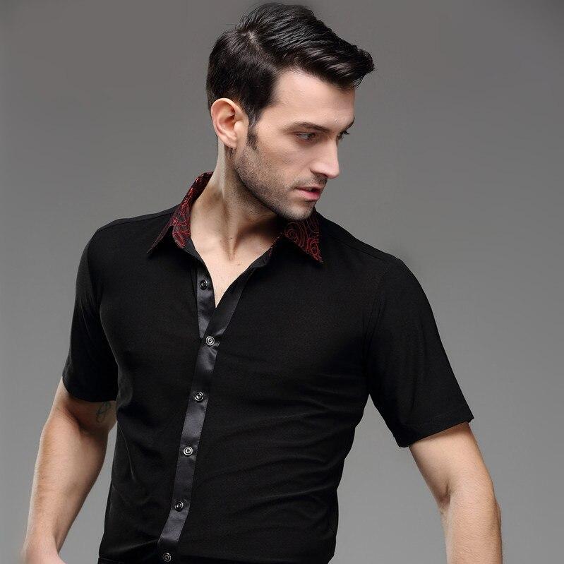 2018 robe latine Tango robe homme été danse latine porter Samba moderne justaucorps vêtements mâle haut adulte à manches courtes carré