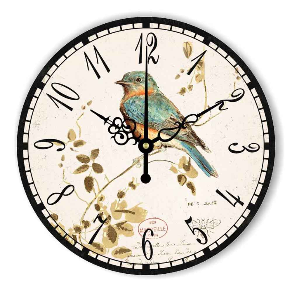 Antique Home Decor Wall Clock With Silent Clock Movement The Bird Vintage Wall Decoration Watch Living Room Decor Gift