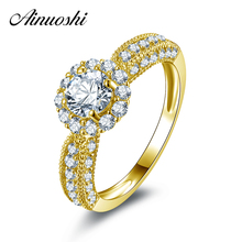 AINUOSHI 10k Solid Yellow Gold Wedding Ring Simulated Diamond Female Fine Jewelry Women Engagement Halo Rings Customized Design