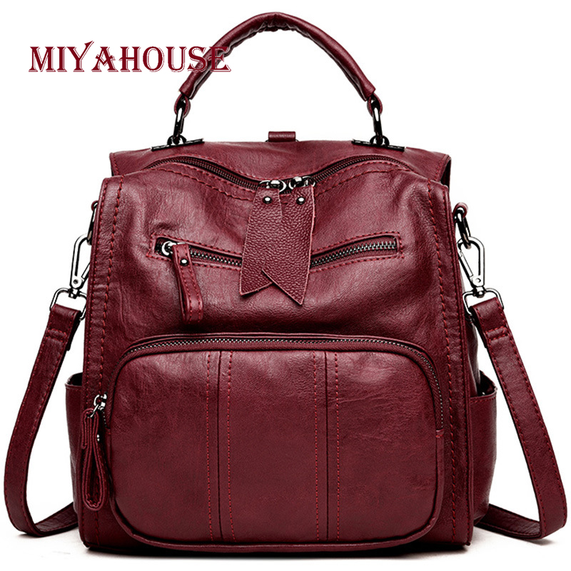 Miyahouse England Style Casual Backpack Pu Leather Large Capacity Rucksack For Women Solid Color Simple Backpack For Female