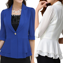 2017 Summer Slim Suit Women Office Blazer Blue Uniform Feminino Half Sleeve Chaquetas Mujer Casual Plus Size Business Jacket