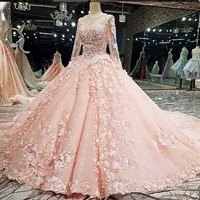 New Design 2018 Luxurious Lace Appliques Beaded Crystals Long Sleeve Puffy Wedding Gown Pink White Wedding Dress Robe De Mariage