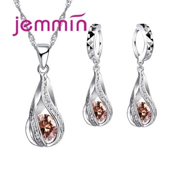 Free Shipping Top Quality 925 Sterling Silver Wedding Party Jewelry Sets Multiple Color Crystals Pendant Necklace Earrings 2