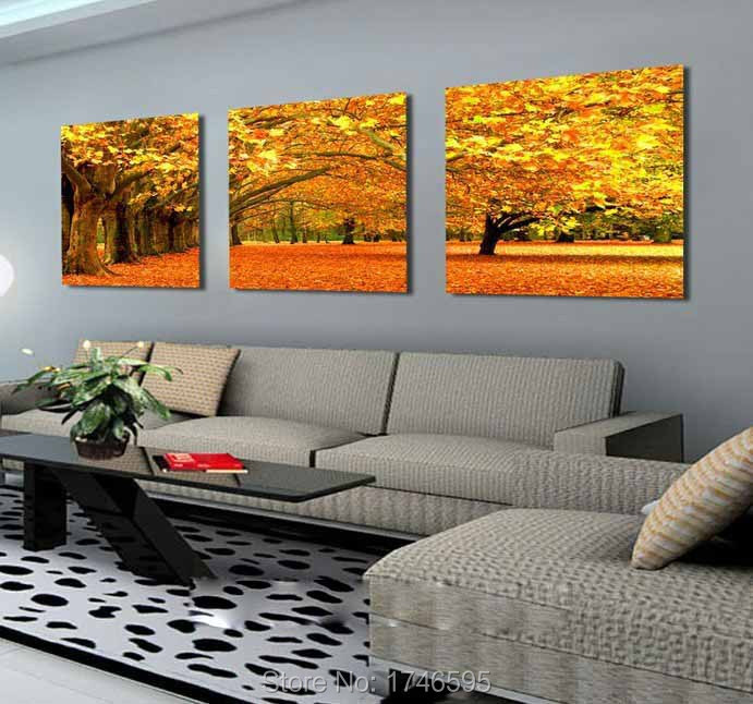 Big 3pcs modern living room home wall decor autumn maple - Modern wall paintings living room ...
