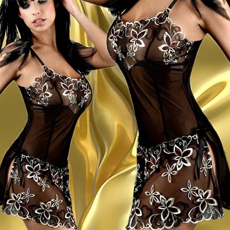 CoolCheer Porn Lingerie Sleepwear Sets Women Negligee Sexy Lace Dress Flower Pattern Baby doll Dress+G String Sex Underwear