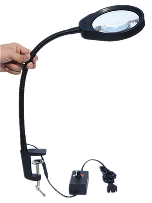 Reading Light with Clip Folding Magnification 5X LED Magnifier with flexable Metal Hose Magnifiers Loupe Desktop Magnifier light
