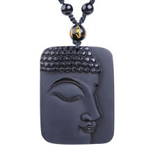 Drop Shipping Natural Black Obsidian Pendant Hand Carved Lucky Amulet Sakyamuni Buddha Obsidian Necklace With Chain Gift obsidian necklace natural stone wolf head pendant buddha guardian ball chain carving amulet with obsidian blessing lucky jewelry