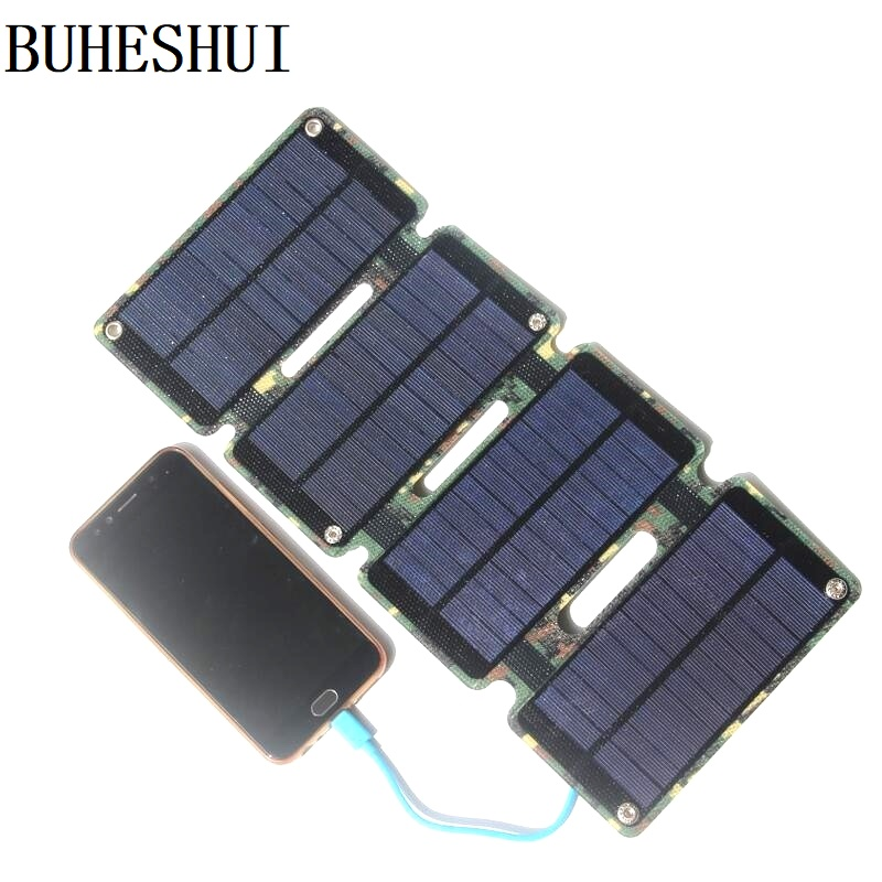 BUHESHUI Foldable 8W ETFE Solar Panel Charger For Mobile Phone Power Bank Super Slim Waterproof Portable High Quailty image