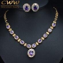 CWWZircons Brillante Runde Baumeln Lila Kristall Braut Halskette Und Ohrring Set Dubai Gold Farbe Hochzeit Schmuck T275