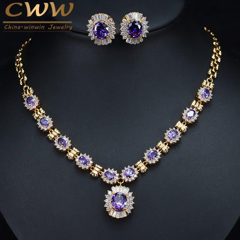 Купить набор свадебных украшений cwwzircons круглые серьги и ожерелье