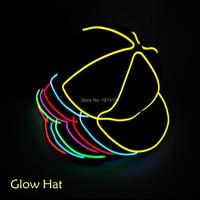Groothandel Glowing hoed LED kleding Neon jazz hoed EL Cap Koude licht Festival Party dance Voor Bruiloft Decoratie
