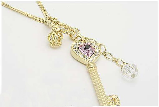 Crown charms love heart key pendant necklace long necklace 2 crown charms love heart key pendant necklace long necklace 2 colors for choice in pendant necklaces from jewelry accessories on aliexpress alibaba aloadofball Image collections