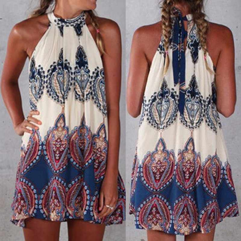 1e00bf0512 2017 Women Summer Bohemian Printed Halter Dress Femme Sleeveless Beach  Party Mini Dresses O Neck Off Shoulder Loose Vestidos