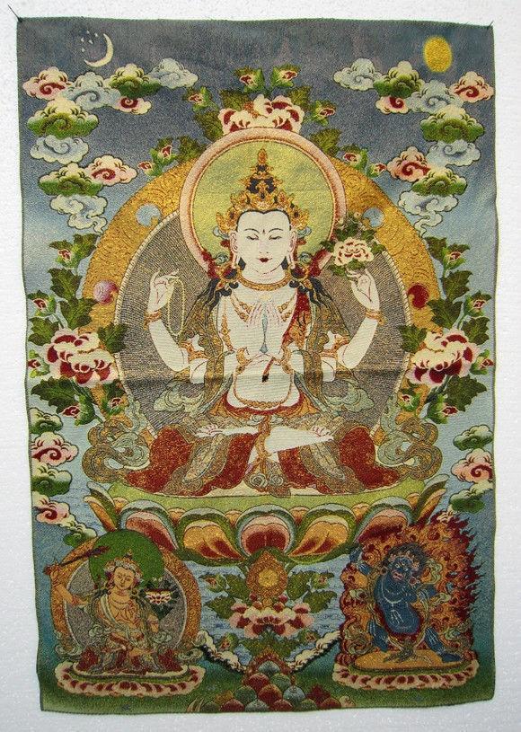 Vynikající tibetské hedvábí vytvořené Maitreya Buddha Thangka