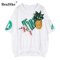 RealShe Streetwear T Shirt Women Summer Short Sleeve O Neck Cotton All Match Tees Tops Female