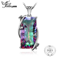 2014 Hot Huge 17.8ct Natural Rainbow Mystic Topaz Vintage Necklaces Pendant Solid 925 Sterling Silver Women Fashion Jewelry