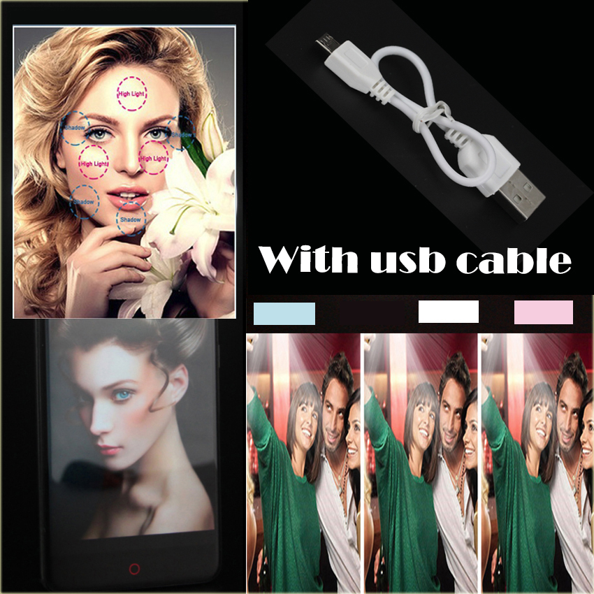 Hot USB charge LED Selfie Ring Light for Iphone Supplementary Lighting Night Darkness Selfie Enhancing for