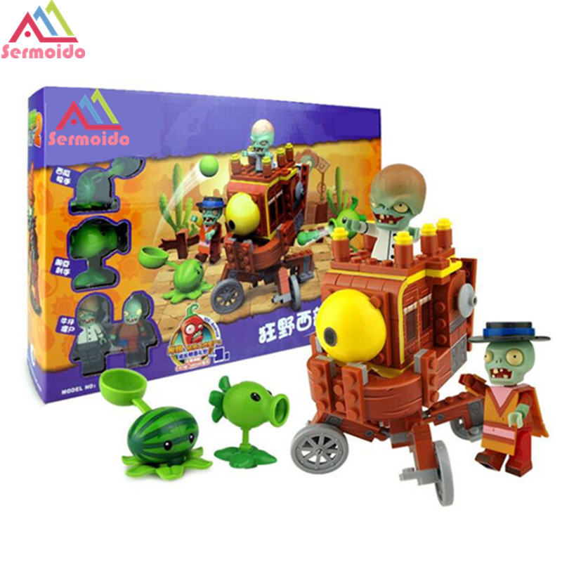 SERMOIDO Plants vs Zombies Struck Game Boss Pirate Harbor Building Blocks Toys For Children Brinquedos Toy B87 52pcs set plants vs zombies pvz collection figures toy all the plants and zombies figure toys free shipping