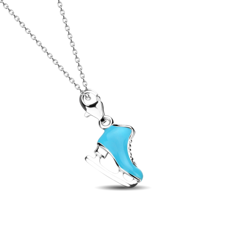 Solid 925 Silver Creative Ice Skate Pendant Chain Sincere High Quality Sterling Silver Woman Necklace Fashion Lady/girl Silver Jewelry