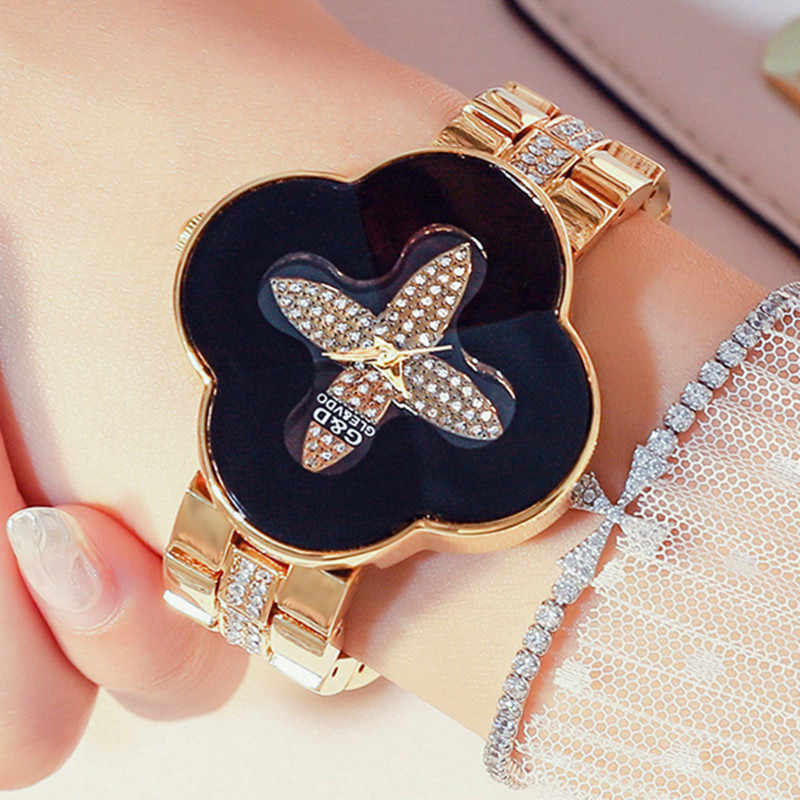 G&D Luxury Brand Women's Watches Gold Four-leaved Clover Bracelet Watch Ladies Casual Women Quartz Wristwatch Clock reloj mujer