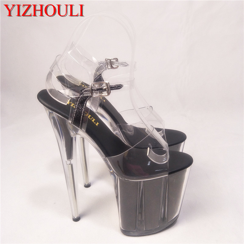 Shiny 20CM Super Sexy High-Heeled Platform Crystal shoes 8 inch high heel shoes fashion Model sandals Fetish Shoes 20cm sexy ultra high heeled platform shoes performance shoes platform black pu leather single shoes 8 inch fashion crystal shoes
