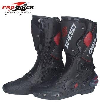 Botas de moto de carreras Pro de microfibra botas de montar en bicicleta de  cuero cómodos zapatos impermeables resistentes a caídas PRO-motociclista