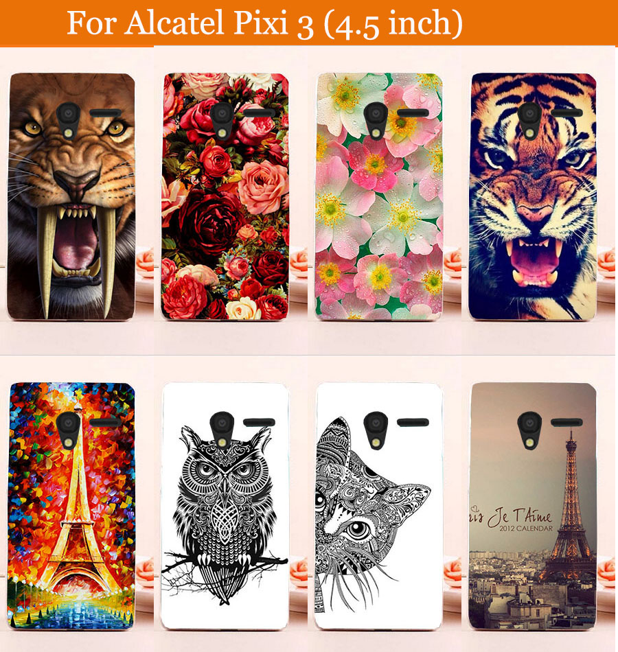 DIY Painted Transparan Hard Cover Kasus Untuk Alcatel One Touch Pixi3 4.5 inch 4027X 4027D 4028A 4028E Kasus Telepon Gratis ...