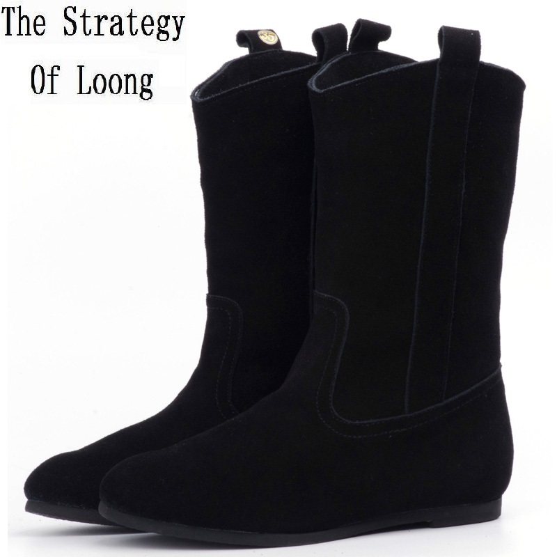 Spring Autumn Full Genuine Leather Women Flat Heels Half Boots Winter Lady Real Leather Thick Warm
