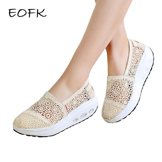 Zapatos mujer plataforma plana, zapato cómodo transpirable, malla de encaje.