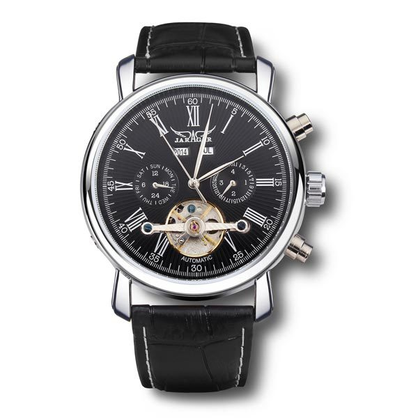 font b JARAGAR b font Brand Fashion Roman Number Leather Band Mechanical Tourbillon Watch White