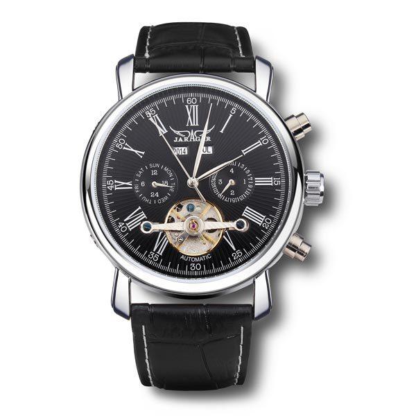 JARAGAR Brand Fashion Roman Number Leather Band Mechanical Tourbillon Watch White Black Men Wristwatch 2016 New все цены