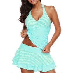 Купальный костюм, купальный костюм большого размера, купальный костюм размера плюс 5XL, консервативная пляжная юбка, Одноцветный купальник б... 1