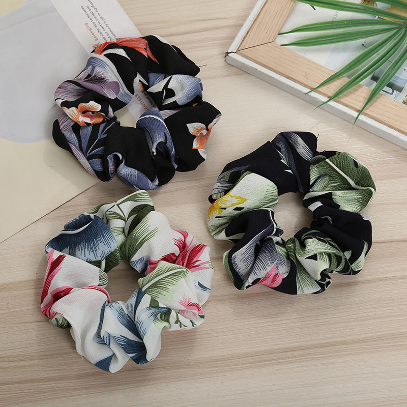 Women Large Intestine Elastic Hair Scrunchies Flower Holder Rubber Bands Ponytail Ribbon Rope Headwear Accessories