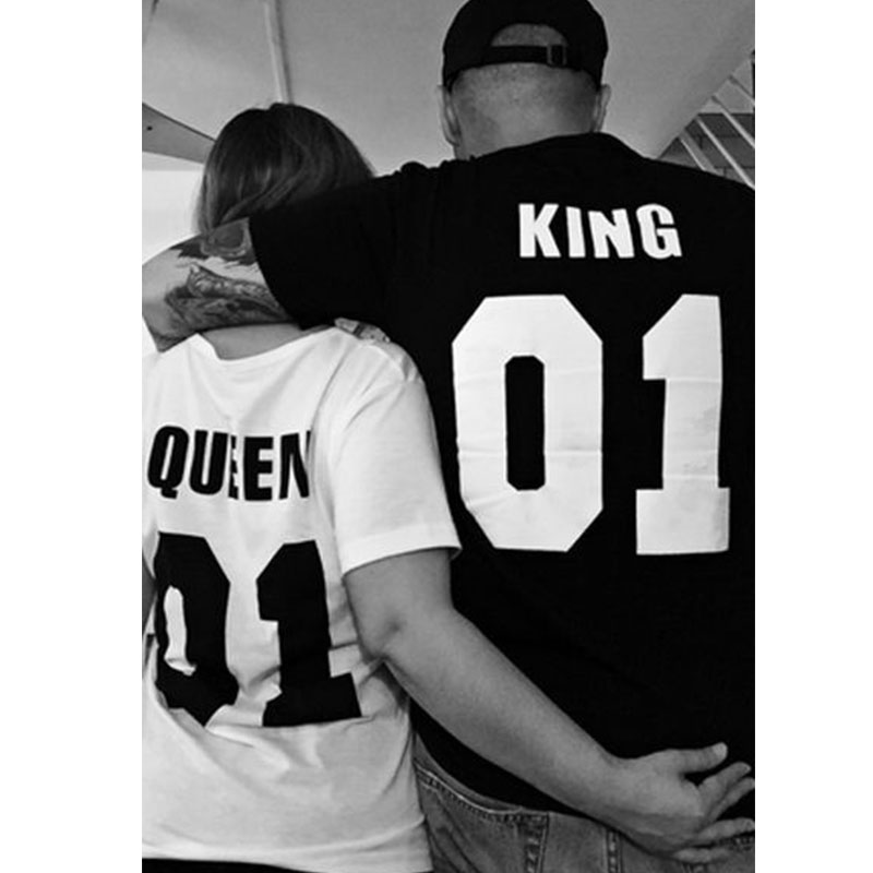 e397dd676f23a6 2017 New Fashion Short Sleeve Couple T shirt Street Punk Hip hop King Or  Queen Design for Couple-in T-Shirts from Women s Clothing on Aliexpress.com  ...