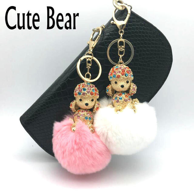 Cute Bear Brand Fluffy Rabbit Fur Keychain Lovely Dog Pendant Key Chain  Women Girl Gift Bag f14f02778361c