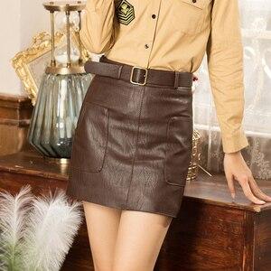 Image 3 - Faldas de cuero sintético de cintura alta para mujer, minifalda de línea a con cinturón, color marrón, negro y blanco, para Otoño e Invierno