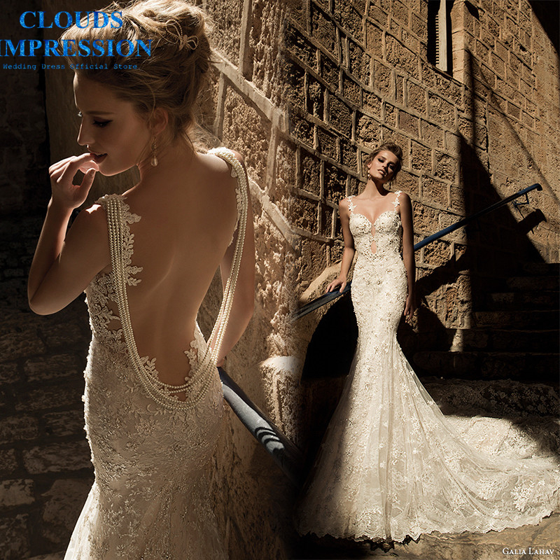 CLOUDS IMPRESSION Sexy Backless 2019 Mermaid Wedding Dress Beading Pearls Bride Dress Vestige De Noiva Chapel Train Real Photo